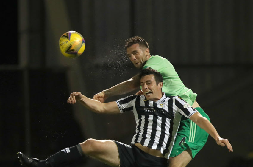 PAISLEY, SCOTLAND - SEPTEMBER 16: Shane Duffy of Celtic wins a header from Joe Shaughnessy of St Mirren during the Ladbrokes Scottish Premiership match between St. Mirren and Celtic at The Simple Digital Arena on September 16, 2020 in Paisley, Scotland. (Photo by Ian MacNicol/Getty Images)