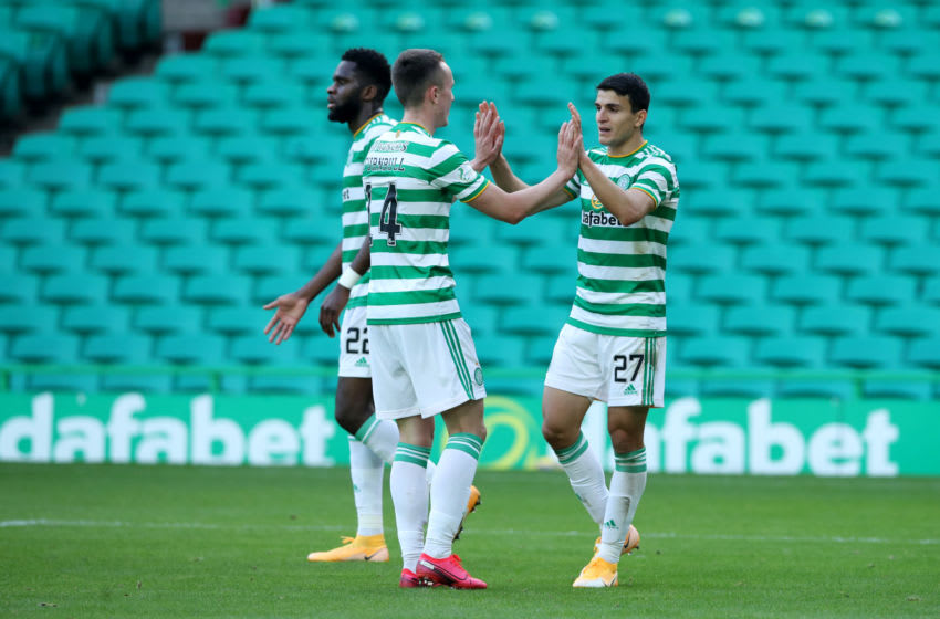 GLASGOW, SCOTLAND - SEPTEMBER 27: Mohamed Elyounoussi of Celtic celebrates after scoring his sides third goal during the Ladbrokes Scottish Premiership match between Celtic and Hibernian at Celtic Park on September 27, 2020 in Glasgow, Scotland. Sporting stadiums around the UK remain under strict restrictions due to the Coronavirus Pandemic as Government social distancing laws prohibit fans inside venues resulting in games being played behind closed doors. (Photo by Ian MacNicol/Getty Images)