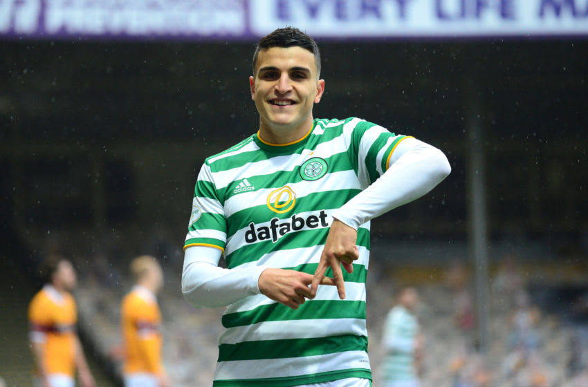 MOTHERWELL, SCOTLAND - NOVEMBER 08: Mohamed Elyounoussi of Celtic celebrates after scoring his sides first goal during the Ladbrokes Scottish Premiership match between Motherwell and Celtic at Fir Park on November 08, 2020 in Motherwell, Scotland. Sporting stadiums around the UK remain under strict restrictions due to the Coronavirus Pandemic as Government social distancing laws prohibit fans inside venues resulting in games being played behind closed doors. (Photo by Mark Runnacles/Getty Images)