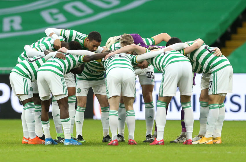 GLASGOW, SCOTLAND - DECEMBER 13: Players of Celtic huddle prior to the Ladbrokes Scottish Premiership match between Celtic and Kilmarnock at Celtic Park on December 13, 2020 in Glasgow, Scotland. The match will be played without fans, behind closed doors as a Covid-19 precaution. (Photo by Ian MacNicol/Getty Images)