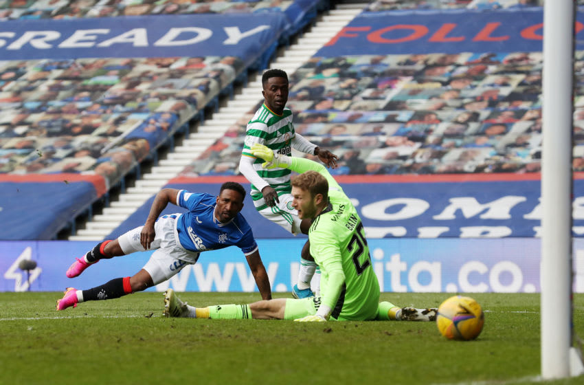 GLASGOW, SCOTLAND - MAY 02: Jermain Defoe of Rangers scores their team's fourth goal during the Ladbrokes Scottish Premiership match between Rangers and Celtic at Ibrox Stadium on May 02, 2021 in Glasgow, Scotland. Sporting stadiums around the UK remain under strict restrictions due to the Coronavirus Pandemic as Government social distancing laws prohibit fans inside venues resulting in games being played behind closed doors. (Photo by Ian MacNicol/Getty Images)