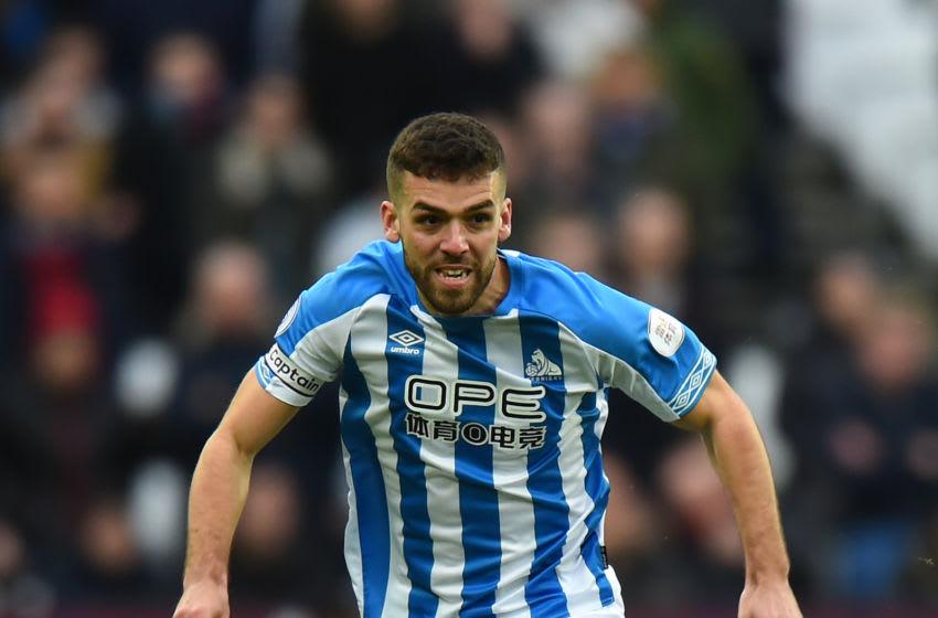 LONDON, ENGLAND - MARCH 16: Tommy Smith of Huddersfield Town during the Premier League match between West Ham United and Huddersfield Town at London Stadium on March 16, 2019 in London, United Kingdom. (Photo by Tony Marshall/Getty Images)