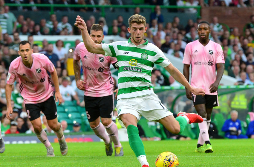 GLASGOW, SCOTLAND - JULY 24: Ryan Christie of Celtic scores from the penalty spot during the UEFA Champions League Second Qualifying round 1st Leg match between Celtic v Nomme Kalju FC at Celtic Park on July 24, 2019 in Glasgow, Scotland. (Photo by Mark Runnacles/Getty Images)