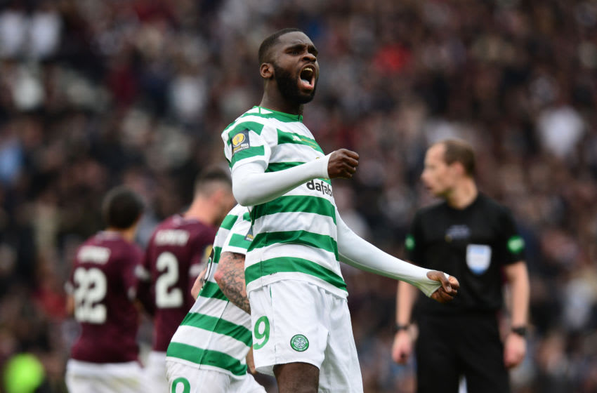 GLASGOW, SCOTLAND - MAY 25: Odsonne Edouard of Celtic celebrates Scoring his first goal of the game during the Scottish Cup Final between Heart of Midlothian FC and Celtic FC at Hampden Park on May 25, 2019 in Glasgow, Scotland. (Photo by Mark Runnacles/Getty Images)