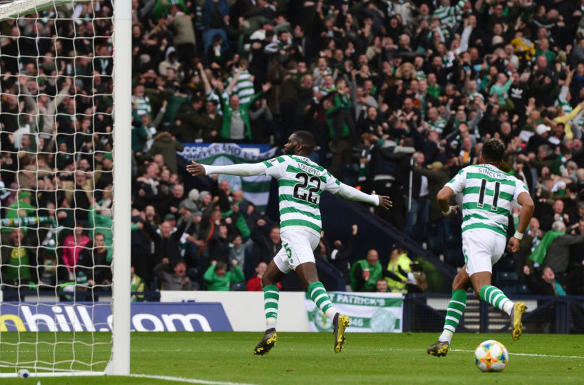 GLASGOW, SCOTLAND - MAY 25: Odsonne Edouard of Celtic celebrates Scoring his second goal of the game during the Scottish Cup Final between Heart of Midlothian FC and Celtic FC at Hampden Park on May 25, 2019 in Glasgow, Scotland. (Photo by Mark Runnacles/Getty Images)
