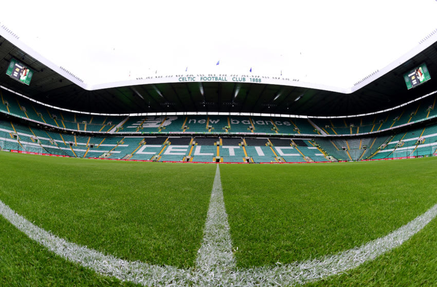 GLASGOW, SCOTLAND - JULY 17: (EDITOR'S NOTE: Image was created as an Equirectangular Panorama. Import image into a panoramic player to create an interactive 360 degree view.) A general view of Celtic Park during the UEFA Champions League First Qualifying Round 2nd Leg match between Celtic and FC Sarajevo at Celtic Park Stadium on July 17, 2019 in Glasgow, Scotland. (Photo by Mark Runnacles/Getty Images)