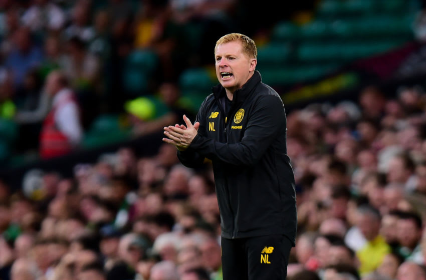GLASGOW, SCOTLAND - JULY 24: Neil Lennon, manger of Celtic gestures from the touch line during the UEFA Champions League Second Qualifying round 1st Leg match between Celtic v Nomme Kalju FC at Celtic Park on July 24, 2019 in Glasgow, Scotland. (Photo by Mark Runnacles/Getty Images)
