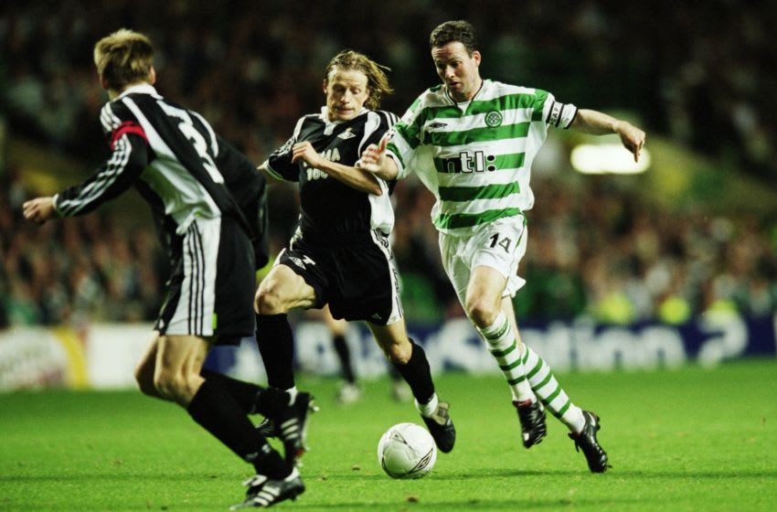 10 Oct 2001: Paul Lambert of Celtic runs at Erik Hoftun and Orjan Berg of Rosenborg during the UEFA Champions League Group E match played at Celtic Park, in Glasgow, Scotland. Celtic won the match 1-0. \ Mandatory Credit: Clive Brunskill /Allsport