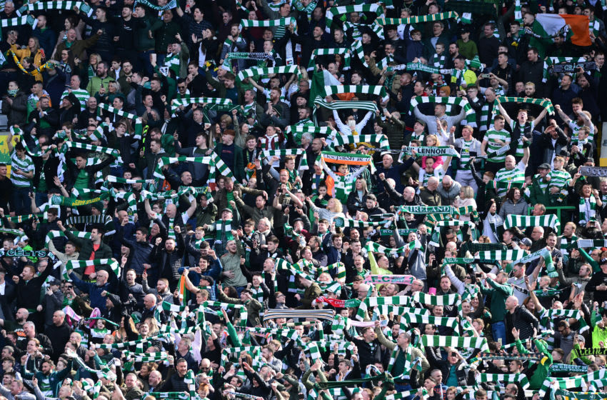 GLASGOW, SCOTLAND - MARCH 31: Celtic fans celebrate at the final whistle as Celtic beat Rangers 2-1 during the Ladbrokes Scottish Premiership match at Celtic Park on March 31, 2019 in Glasgow, Scotland. (Photo by Mark Runnacles/Getty Images)