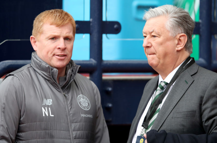 Neil Lennon and Peter Lawwell, Celtic. (Photo by Ian MacNicol/Getty Images)