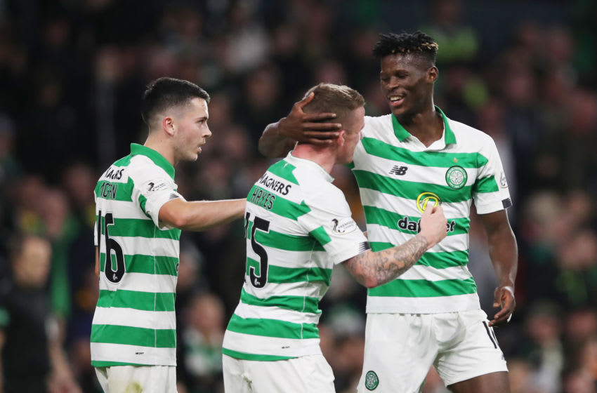 GLASGOW, SCOTLAND - SEPTEMBER 25: Vakoun Bayo of Celtic celebrates scoring the opening goal during the Betfred Scottish League Cup quarter final match between Celtic and Partick Thistle at Celtic Park on September 25, 2019 in Glasgow, Scotland. (Photo by Ian MacNicol/Getty Images)