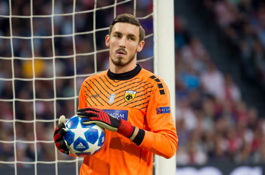 AMSTERDAM, NETHERLANDS - SEPTEMBER 19: Goalkeeper Vasilios Barkas of AEK Athen looks on during the UEFA Champions League Group E match between Ajax and AEK Athens at Johan Cruyff Arena on September 19, 2018 in Amsterdam, Netherlands. (Photo by TF-Images/Getty Images)
