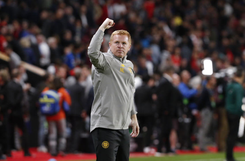 RENNES, FRANCE - SEPTEMBER 19: Neil Lennon Head Coach of Celtic FC thanks the fans after the UEFA Europa League group E match between Stade Rennes FC and Celtic FC at Roazhon Park on September 19, 2019 in Rennes, France. (Photo by Catherine Steenkeste/Getty Images)