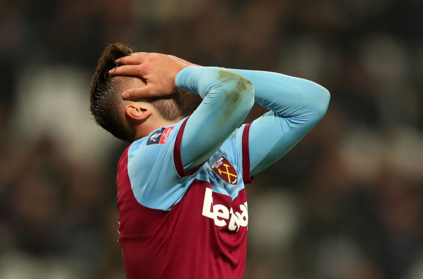 LONDON, ENGLAND - JANUARY 25: Albian Ajeti of West Ham United looks dejected during the FA Cup Fourth Round match between West Ham United and West Bromwich Albion at The London Stadium on January 25, 2020 in London, England. (Photo by Catherine Ivill/Getty Images)