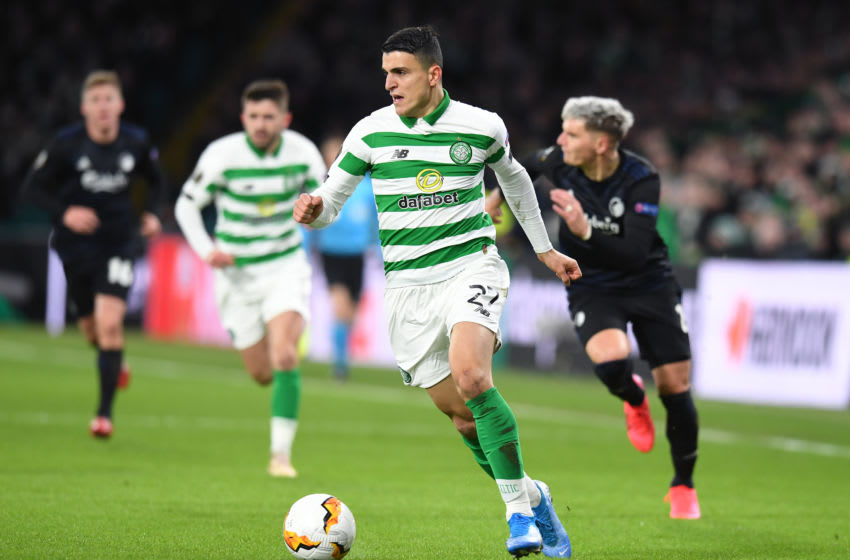 GLASGOW, SCOTLAND - FEBRUARY 27: Mohamed Elyounoussi of Celtic FC takes on Guillermo Varela of FC Kobenhavn during the UEFA Europa League round of 32 second leg match between Celtic FC and FC Kobenhavn at Celtic Park on February 27, 2020 in Glasgow, United Kingdom. (Photo by Mark Runnacles/Getty Images)