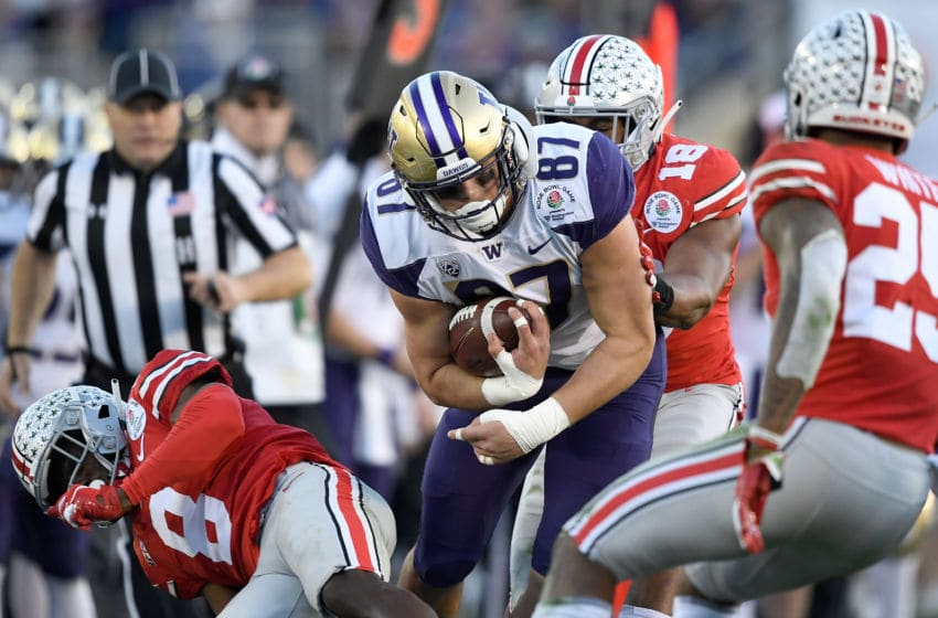 PASADENA, CA - JANUARY 01: Cade Otton #87 of the Washington Huskies makes a catch during the second half in the Rose Bowl Game presented by Northwestern Mutual at the Rose Bowl on January 1, 2019 in Pasadena, California. (Photo by Kevork Djansezian/Getty Images)