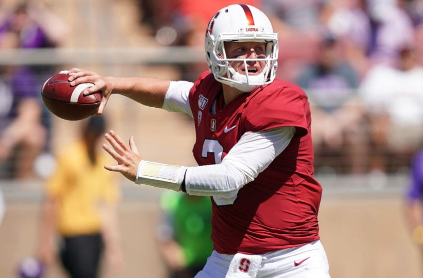 PALO ALTO, CA - AUGUST 31: K.J. Costello #3 of the Stanford Cardinal drops back to pass against the Northwestern Wildcats during the second quarter of an NCAA football game at Stanford Stadium on August 31, 2019 in Palo Alto, California. (Photo by Thearon W. Henderson/Getty Images)