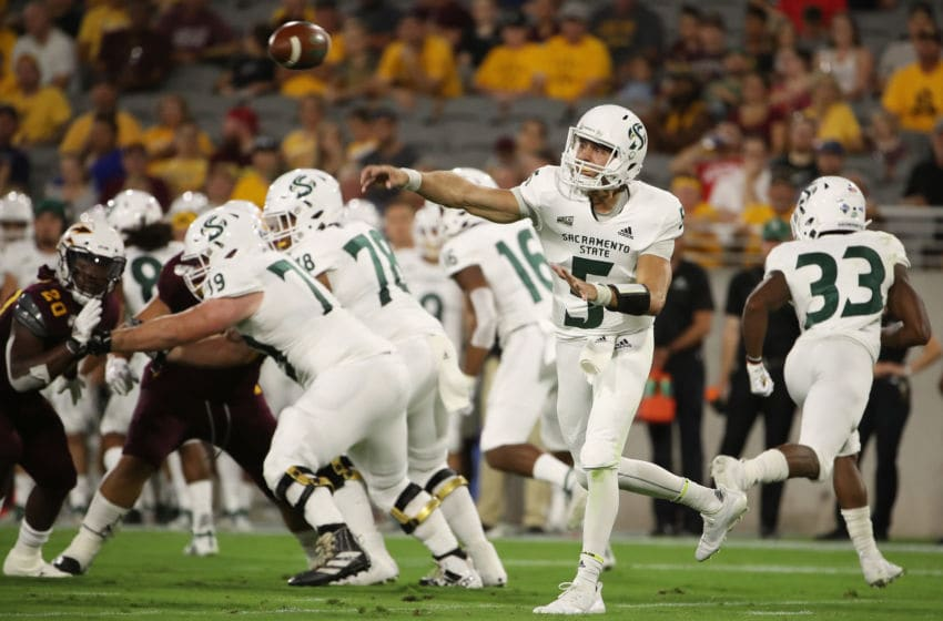 TEMPE, ARIZONA - SEPTEMBER 06: Quarterback Kevin Thomson #5 of the Sacramento State Hornets throws a pass during the first half of the NCAAF game against the Arizona State Sun Devils at Sun Devil Stadium on September 06, 2019 in Tempe, Arizona. (Photo by Christian Petersen/Getty Images)