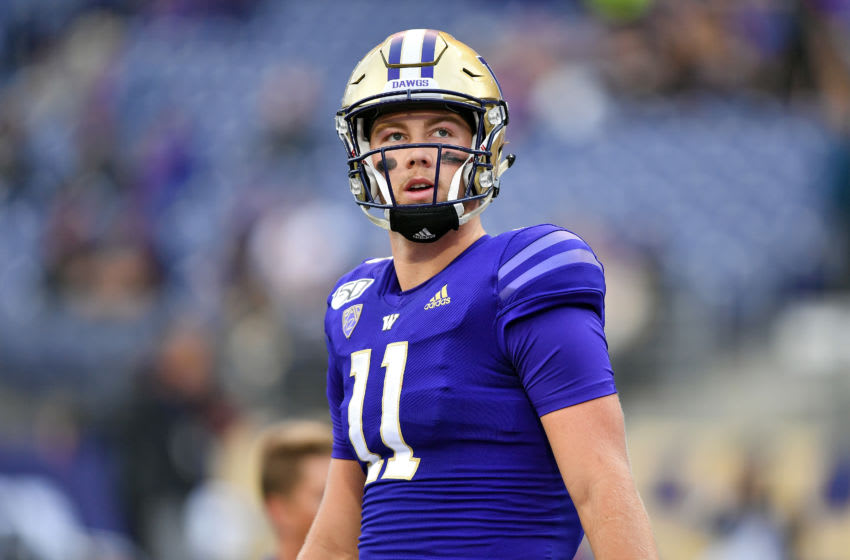 SEATTLE, WASHINGTON - SEPTEMBER 07: Jacob Sirmon #11 of the Washington Huskies warms up before the game against the California Golden Bears the at Husky Stadium on September 07, 2019 in Seattle, Washington. (Photo by Alika Jenner/Getty Images)