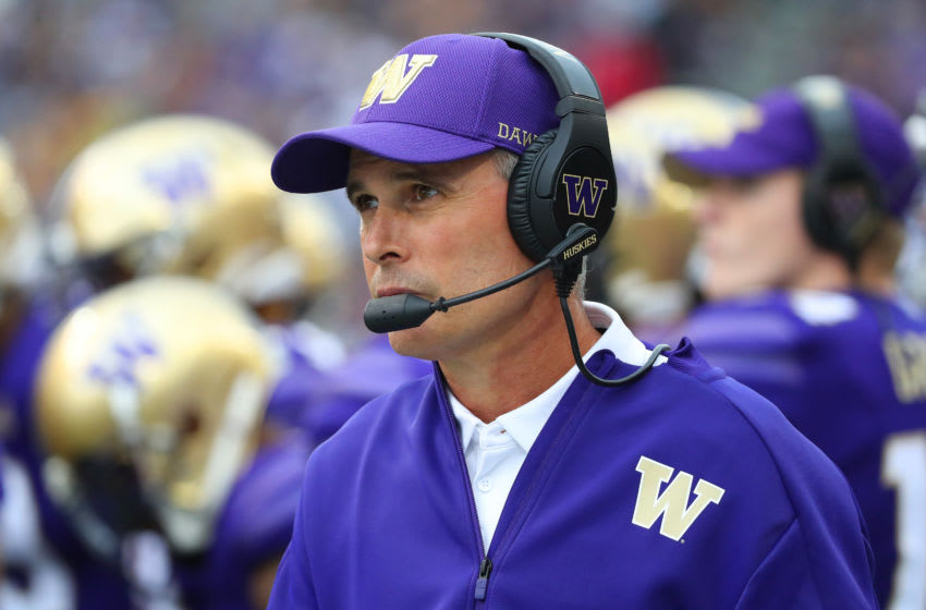 SEATTLE, WASHINGTON - SEPTEMBER 14: Head Coach Chris Petersen of the Washington Huskies looks on against the Hawaii Rainbow Warriors in the second quarter during their game at Husky Stadium on September 14, 2019 in Seattle, Washington. (Photo by Abbie Parr/Getty Images)