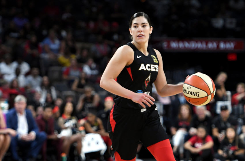LAS VEGAS, NEVADA - SEPTEMBER 22: Kelsey Plum #10 of the Las Vegas Aces brings the ball up the court against the Washington Mystics during Game Three of the 2019 WNBA Playoff semifinals at the Mandalay Bay Events Center on September 22, 2019 in Las Vegas, Nevada. The Aces defeated the Mystics 92-75. NOTE TO USER: User expressly acknowledges and agrees that, by downloading and or using this photograph, User is consenting to the terms and conditions of the Getty Images License Agreement. (Photo by Ethan Miller/Getty Images)