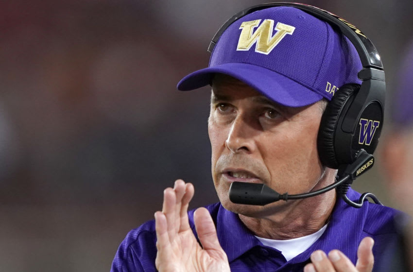 PALO ALTO, CALIFORNIA - OCTOBER 05: Head coach Chris Petersen of the Washington Huskies looks on from the sidelines against the Stanford Cardinal during the second quarter of an NCAA football game at Stanford Stadium on October 05, 2019 in Palo Alto, California. (Photo by Thearon W. Henderson/Getty Images)
