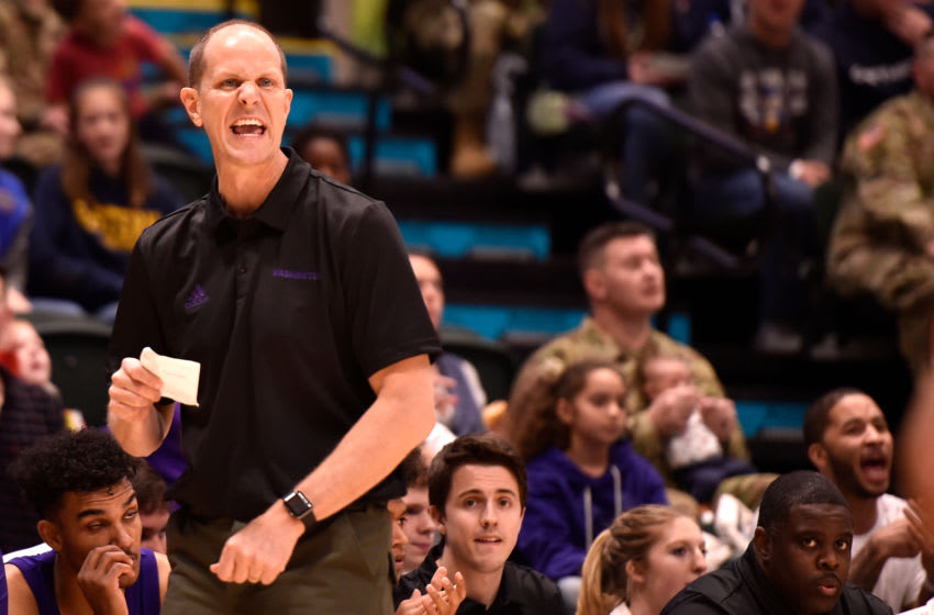 ANCHORAGE, AK - NOVEMBER 08: Head coach Mike Hopkins of the Washington Huskies directs his team against the Baylor Bears in the first half during the ESPN Armed Forces Classic at Alaska Airlines Center on November 8, 2019 in Anchorage, Alaska. (Photo by Lance King/Getty Images)