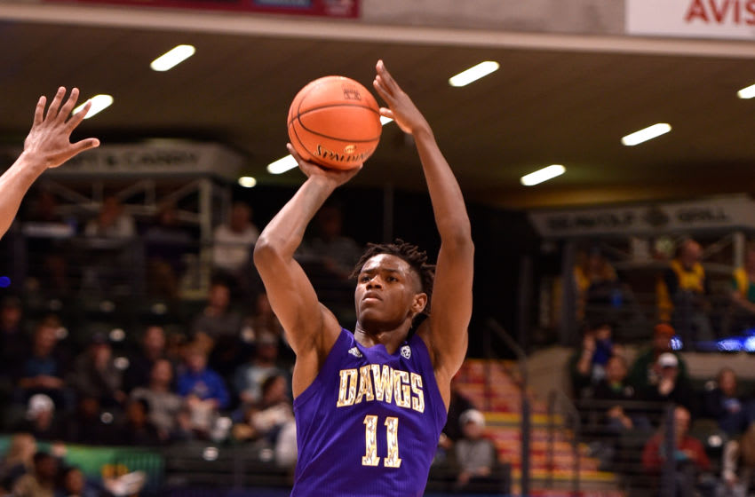 ANCHORAGE, AK - NOVEMBER 08: Nahziah Carter #11 of the Washington Huskies puts up a three-point shot in the second half against the Baylor Bears during the ESPN Armed Forces Classic at Alaska Airlines Center on November 8, 2019 in Anchorage, Alaska. (Photo by Lance King/Getty Images)