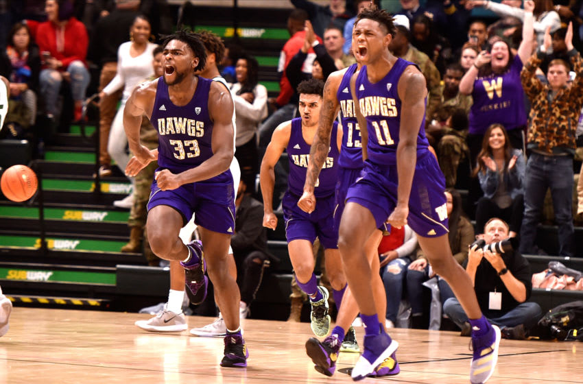 ANCHORAGE, AK - NOVEMBER 08: Isaiah Stewart #33 and Nahziah Carter #11 of the Washington Huskies celebrate following their win against the Baylor Bears during the ESPN Armed Forces Classic at Alaska Airlines Center on November 8, 2019 in Anchorage, Alaska. Washington won 67-64. (Photo by Lance King/Getty Images)