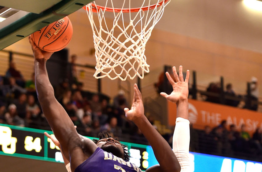 ANCHORAGE, AK - NOVEMBER 08: Isaiah Stewart #33 of the Washington Huskies goes up for a dunk against Freddie Gillespie #33 of the Baylor Bears in the second half during the ESPN Armed Forces Classic at Alaska Airlines Center on November 8, 2019 in Anchorage, Alaska. (Photo by Lance King/Getty Images)