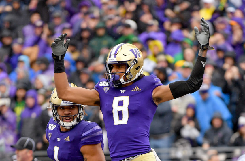 SEATTLE, WASHINGTON - OCTOBER 19: Marquis Spiker #8 of the Washington Huskies celebrates after a touchdown during the first quarter game against the Oregon Ducks at Husky Stadium on October 19, 2019 in Seattle, Washington. (Photo by Alika Jenner/Getty Images)