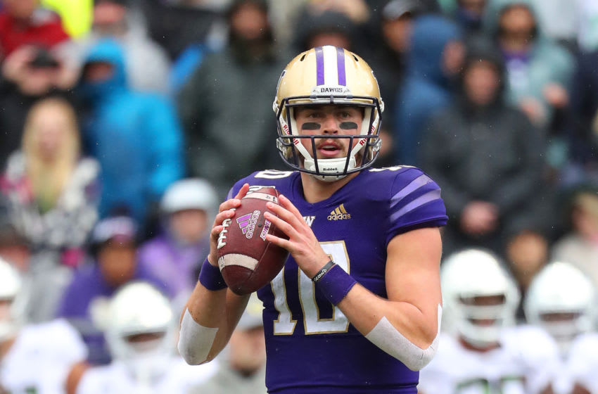 SEATTLE, WASHINGTON - OCTOBER 19: Jacob Eason #10 of the Washington Huskies looks to throw the ball against the Oregon Ducks in the second quarter during their game at Husky Stadium on October 19, 2019 in Seattle, Washington. (Photo by Abbie Parr/Getty Images)