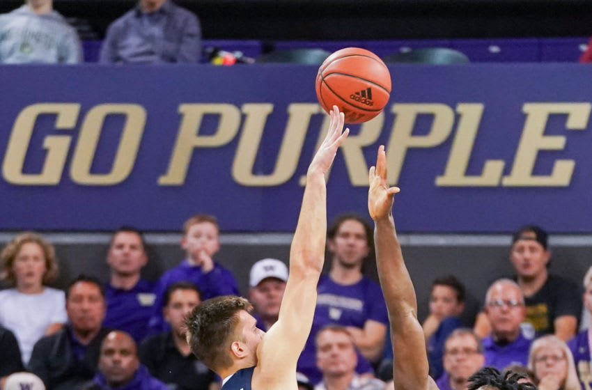 SEATTLE, WA - DECEMBER 08: Filip Petrusev #3 of the Gonzaga Bulldogs shoots over Isaiah Stewart #33 of the Washington Huskies in the 2nd half at Hec Edmundson Pavilion on December 8, 2019 in Seattle, Washington. (Photo by Mike Tedesco/Getty Images)