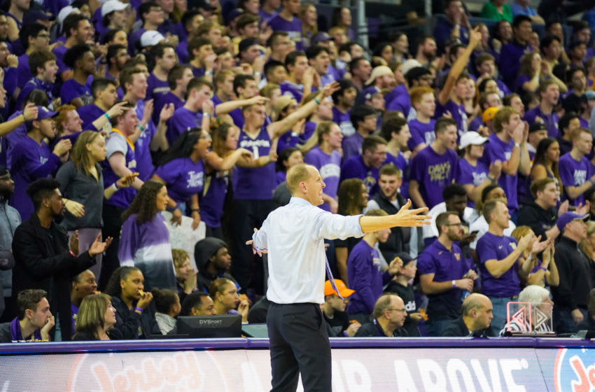 SEATTLE, WA - DECEMBER 08: Head coach Mike Hopkins of the Washington Huskies urges on the fans during the 2nd half against the Gonzaga Bulldogs at Hec Edmundson Pavilion on December 8, 2019 in Seattle, Washington. (Photo by Mike Tedesco/Getty Images)