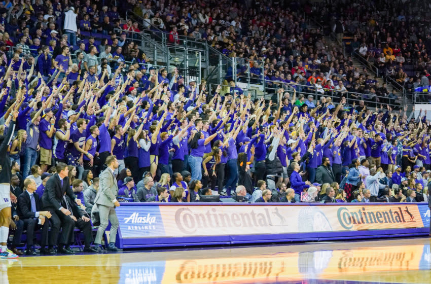 SEATTLE, WA - DECEMBER 08: Washington Huskies students cheer in the game against the Gonzaga Bulldogs at Hec Edmundson Pavilion on December 8, 2019 in Seattle, Washington. (Photo by Mike Tedesco/Getty Images)