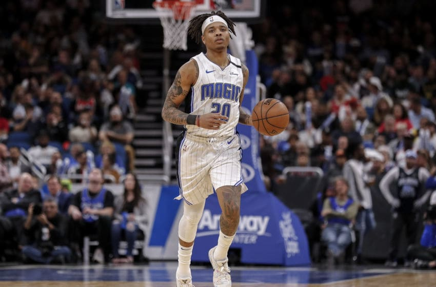 ORLANDO, FL - MARCH 2: Markelle Fultz #20 of the Orlando Magic brings the ball upcourt against the Portland Trail Blazers during the game at the Amway Center on March 2, 2020 in Orlando, Florida. The Trail Blazers defeated the Magic 130 to 107. NOTE TO USER: User expressly acknowledges and agrees that, by downloading and or using this photograph, User is consenting to the terms and conditions of the Getty Images License Agreement. (Photo by Don Juan Moore/Getty Images)