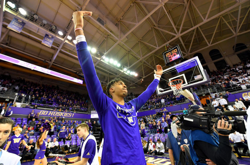 SEATTLE, WASHINGTON - FEBRUARY 28: Nate Roberts #1 of the Washington Huskies fires up the fans before the game against the Washington State Cougars at the Alaska Airlines Arena at Hec Edmundson Pavilion on February 28, 2020 in Seattle, Washington. The WSU Cougars topped the UW Huskies, 78-74. (Photo by Alika Jenner/Getty Images)