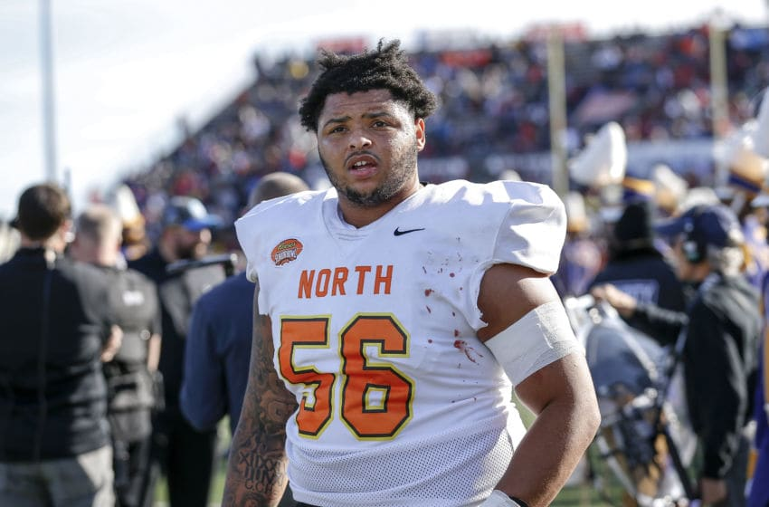 MOBILE, AL - JANUARY 25: Offensive Lineman Nick Harris #56 from Washington of the North Team on the sidelines during the 2020 Resse's Senior Bowl at Ladd-Peebles Stadium on January 25, 2020 in Mobile, Alabama. The Noth Team defeated the South Team 34 to 17. (Photo by Don Juan Moore/Getty Images)