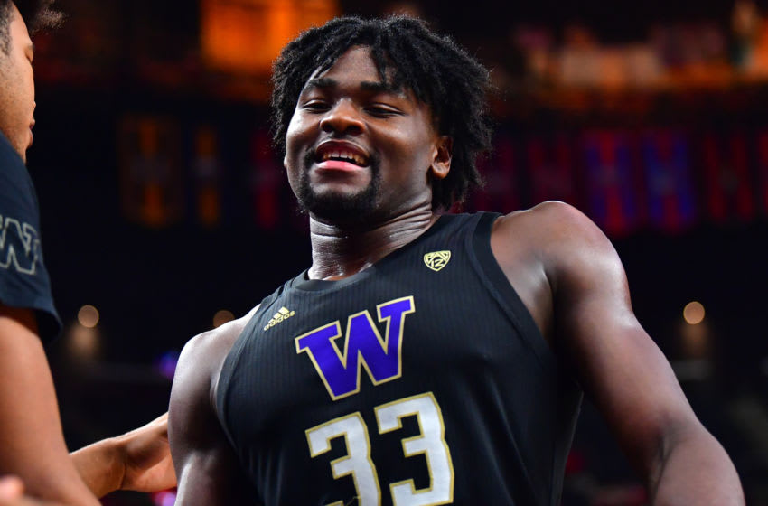 Mar 14, 2020; Las Vegas, Nevada, USA; Washington Huskies forward Isaiah Stewart (33) is pictured returning to the bench during the second half against the Arizona Wildcats at T-Mobile Arena. Mandatory Credit: Stephen R. Sylvanie-USA TODAY Sports