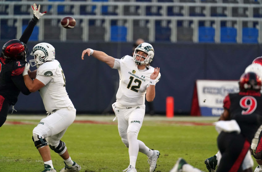 Dec 5, 2020; Carson, California, USA; Colorado State Rams quarterback Patrick O'Brien (12) throws the ball in the first quarter against the San Diego State Aztecs at Dignity Health Sports Park. Mandatory Credit: Kirby Lee-USA TODAY Sports