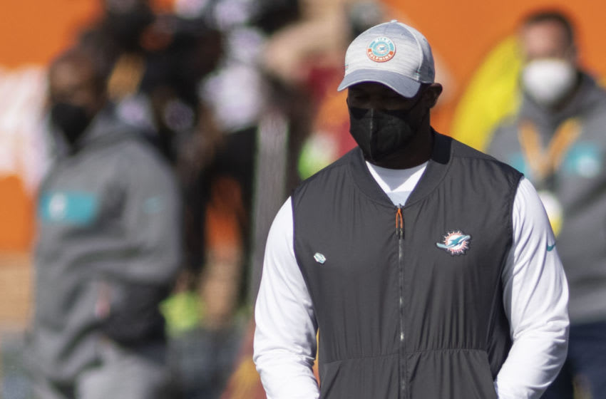 Jan 30, 2021; Mobile, AL, USA; National head coach Brian Flores of the Miami Dolphins looks on in the first half of the 2021 Senior Bowl at Hancock Whitney Stadium. Mandatory Credit: Vasha Hunt-USA TODAY Sports