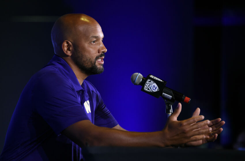 Jul 27, 2021; Hollywood, CA, USA; Washington Huskies head coach Jimmy Lake speaks with the media during the Pac-12 football Media Day at the W Hollywood. Mandatory Credit: Kelvin Kuo-USA TODAY Sports