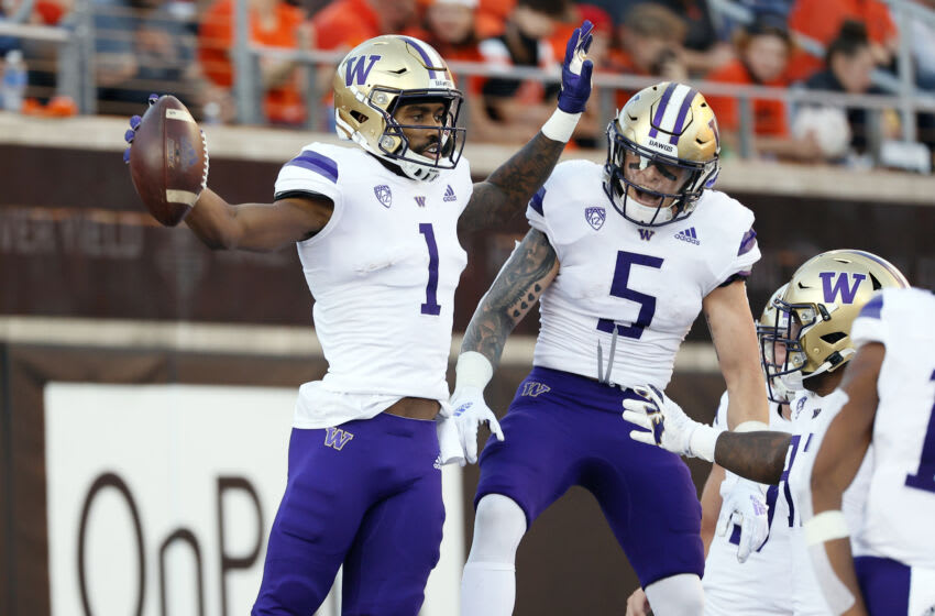 Oct 2, 2021; Corvallis, Oregon, USA; Washington Huskies wide receiver Terrell Bynum (1) celebrates with teammates after scoring a touchdown against the Oregon State Beavers during the first half at Reser Stadium. Mandatory Credit: Soobum Im-USA TODAY Sports