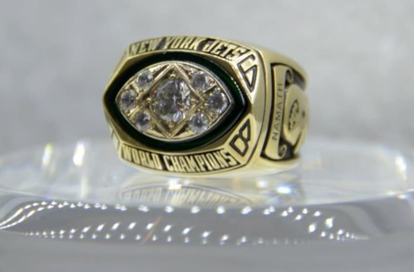 Jan 29, 2015; Phoenix, AZ, USA; General view of Super Bowl III championship ring to commemorate the New York Jets 16-7 victory over the Baltimore Colts on Jan 12, 1969 on display at the NFL Experience at the Phoenix Convention Center. Mandatory Credit: Kirby Lee-USA TODAY Sport