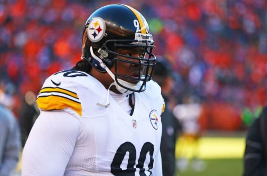 Jan 17, 2016; Denver, CO, USA; Pittsburgh Steelers defensive tackle Steve McLendon (90) against the Denver Broncos during the AFC Divisional round playoff game at Sports Authority Field at Mile High. Mandatory Credit: Mark J. Rebilas-USA TODAY Sports