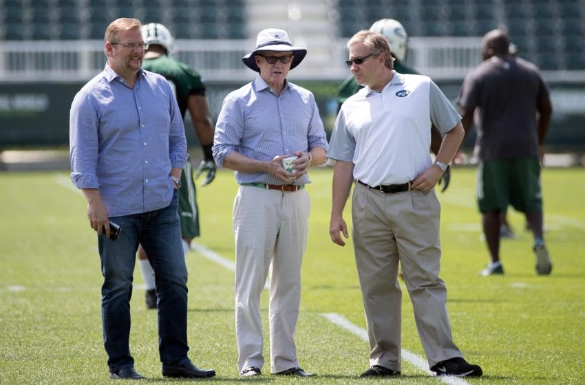 Jul 28, 2016; Florham Park, NJ, USA; New York Jets general manager Mike Maccagnan (left) and owner Woody Johnson (center) and president Neil Glat (right) during training camp at Atlantic Health Jets Training Center. Mandatory Credit: Vincent Carchietta-USA TODAY Sports