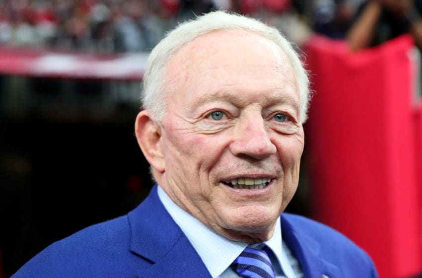 HOUSTON, TX - FEBRUARY 05: Dallas Cowboys owner Jerry Jones stands on the field prior to Super Bowl 51 between the New England Patriots and the Atlanta Falcons at NRG Stadium on February 5, 2017 in Houston, Texas. (Photo by Tom Pennington/Getty Images)