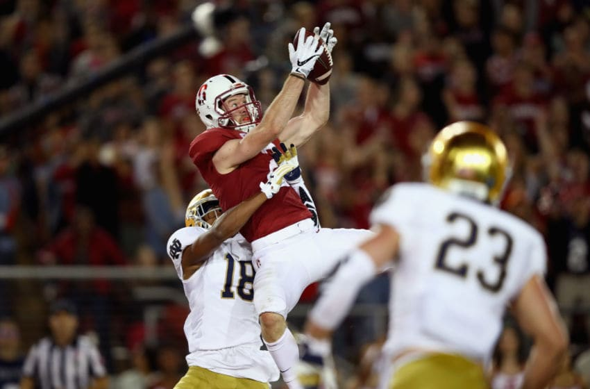 PALO ALTO, CA - NOVEMBER 25: Trenton Irwin #2 of the Stanford Cardinal catches a touchdown pass while covered by Troy Pride Jr. #18 of the Notre Dame Fighting Irish at Stanford Stadium on November 25, 2017 in Palo Alto, California. (Photo by Ezra Shaw/Getty Images)