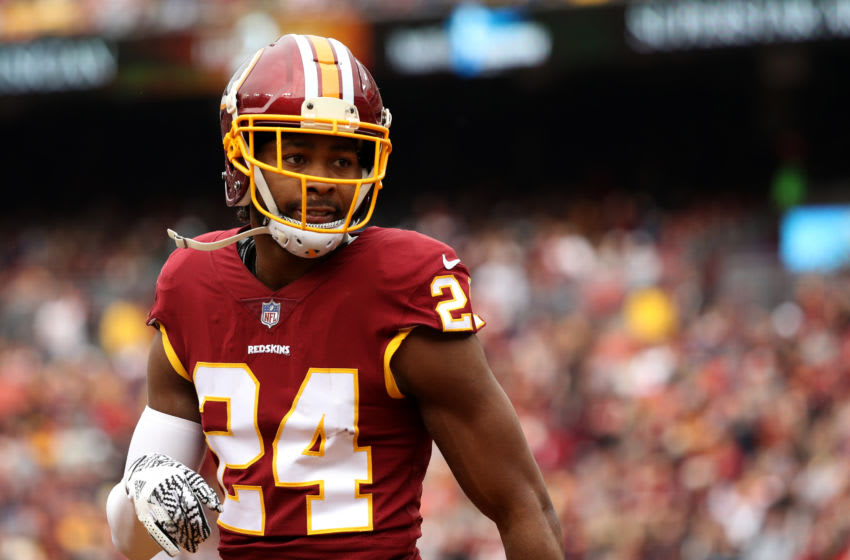 LANDOVER, MD - DECEMBER 17: Cornerback Josh Norman #24 of the Washington Redskins stands on the field in the first quarter against the Arizona Cardinals at FedEx Field on December 17, 2017 in Landover, Maryland. (Photo by Patrick Smith/Getty Images)