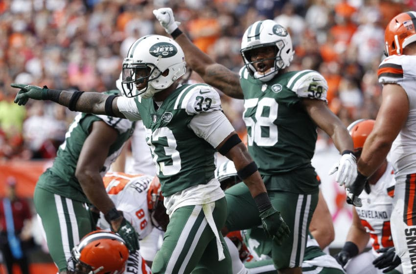 CLEVELAND, OH - OCTOBER 08: Jamal Adams #33 of the New York Jets celebrates a play in the second half against the Cleveland Browns at FirstEnergy Stadium on October 8, 2017 in Cleveland, Ohio. (Photo by Joe Robbins/Getty Images)